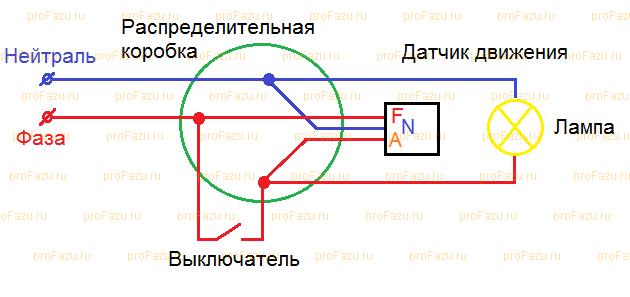 Подключение через распределительную коробку