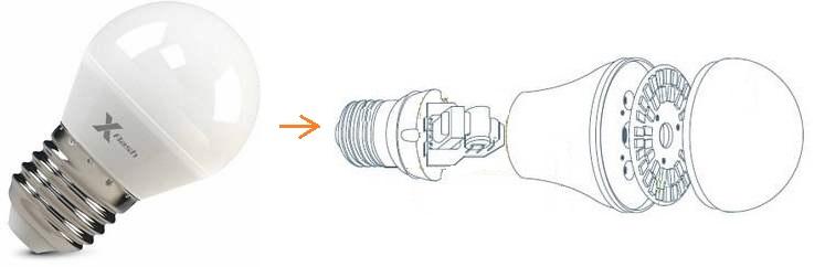 Лед лампа на 12В с цоколем Е27