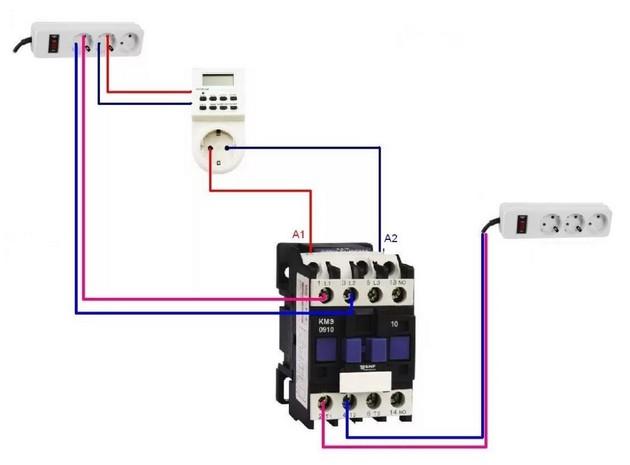 Схема включения магнитного пускателя с тепловым реле
