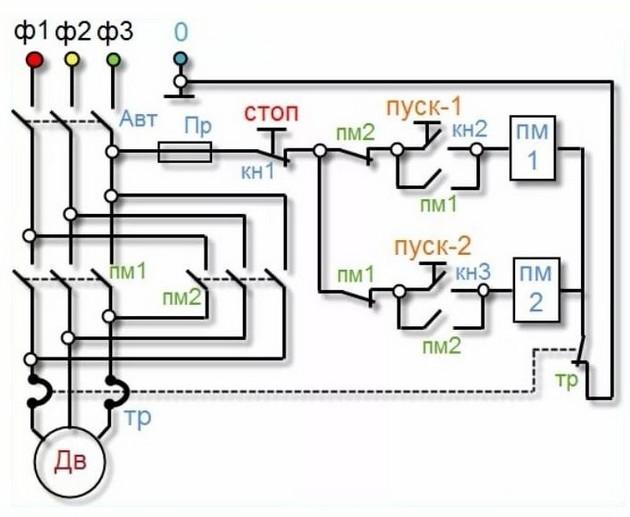 Схема подключения пускателя 10