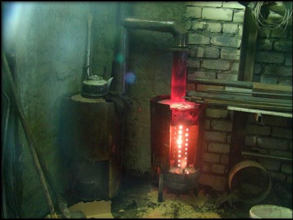 самодельная печка в гараже на отработке