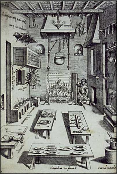 кухня на старинной гравюре