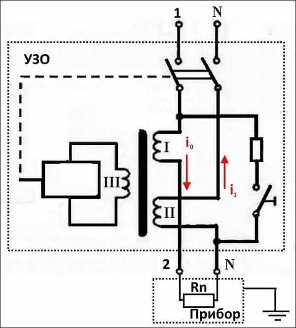 принцип функционирования двухфазного УЗО-Д
