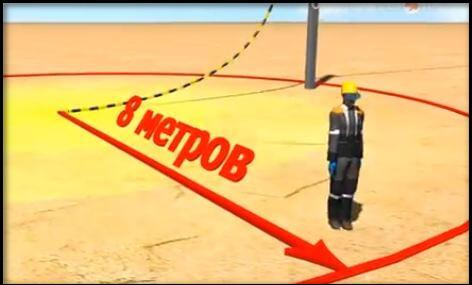 безопасным считается расстояние 8-10 метров