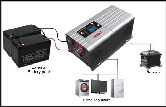 схематичное изображение системы с аккумулятором