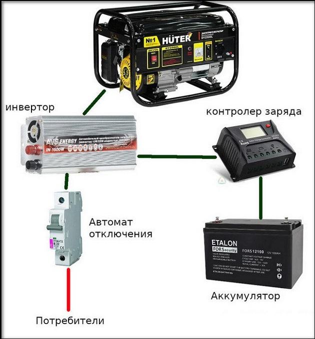 схема с использование аккумуляторной батареи