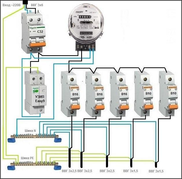 схема подключения УЗИП в однофазную электрическую схему