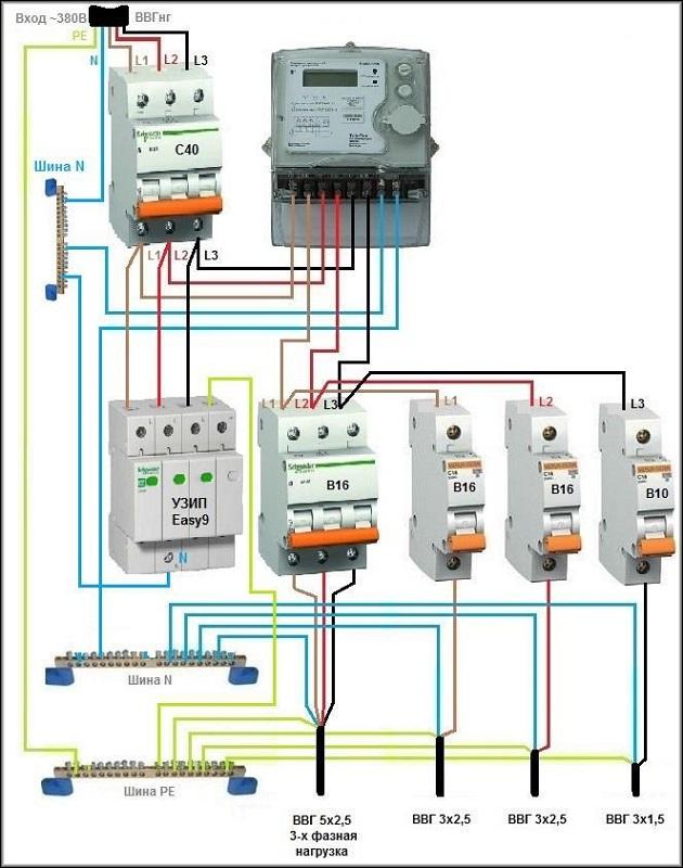 схема подключения УЗИП в трехфазную электрическую схему