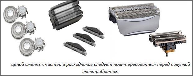сменные части бритвы