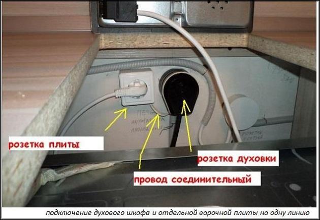 подключение отдельной электродуховки и варочной поверхности
