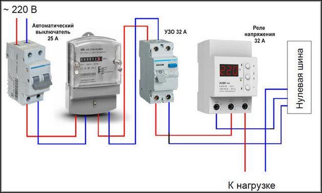 Подключение однофазных моделей реле контроля напряжения