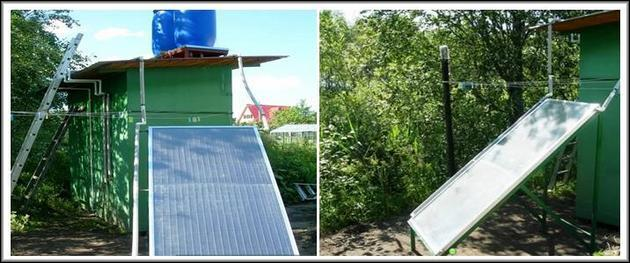 система солнечного коллектора с душем