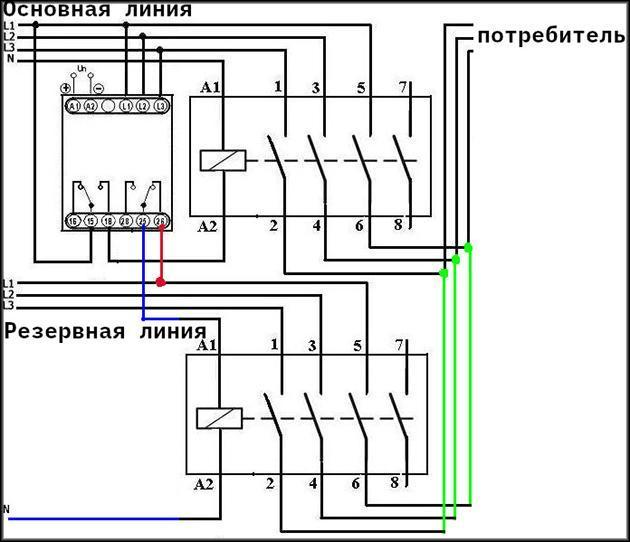Схема монтажа для использования резервной линии подачи тока