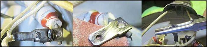 зачистка мелкой наждачкой вывода нагревателя